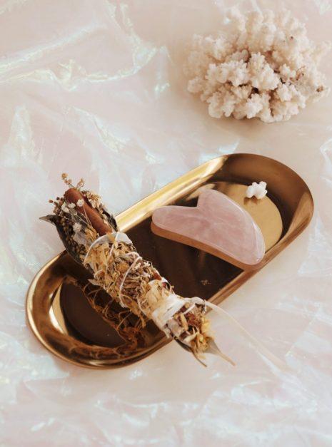 Mini Rose Ritual Set: Rose Quartz Gua Sha + Botanical Smudge Stick