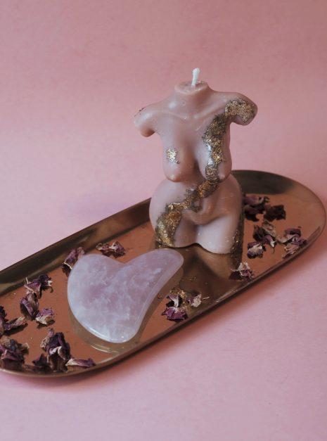 Mer-femme Soy Candle + Rose Quartz Gua Sha Kit   JULISA