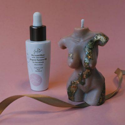 Mer-femme Soy Candle + Mermaid Elixir 'Glass Skin' Oil Kit | JULISA